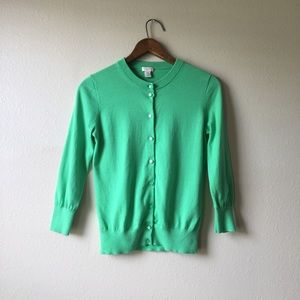 J Crew Green Cardigan Size S